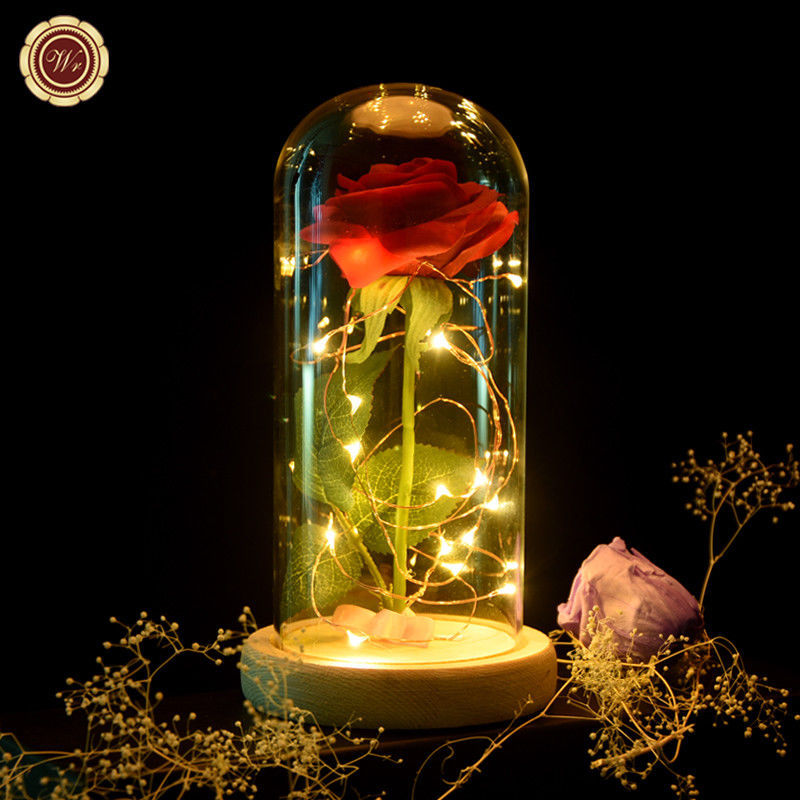 WR Beauty and The Beast Red Rose Glass Dome LED Light Wooden Base Lady Girl Gift