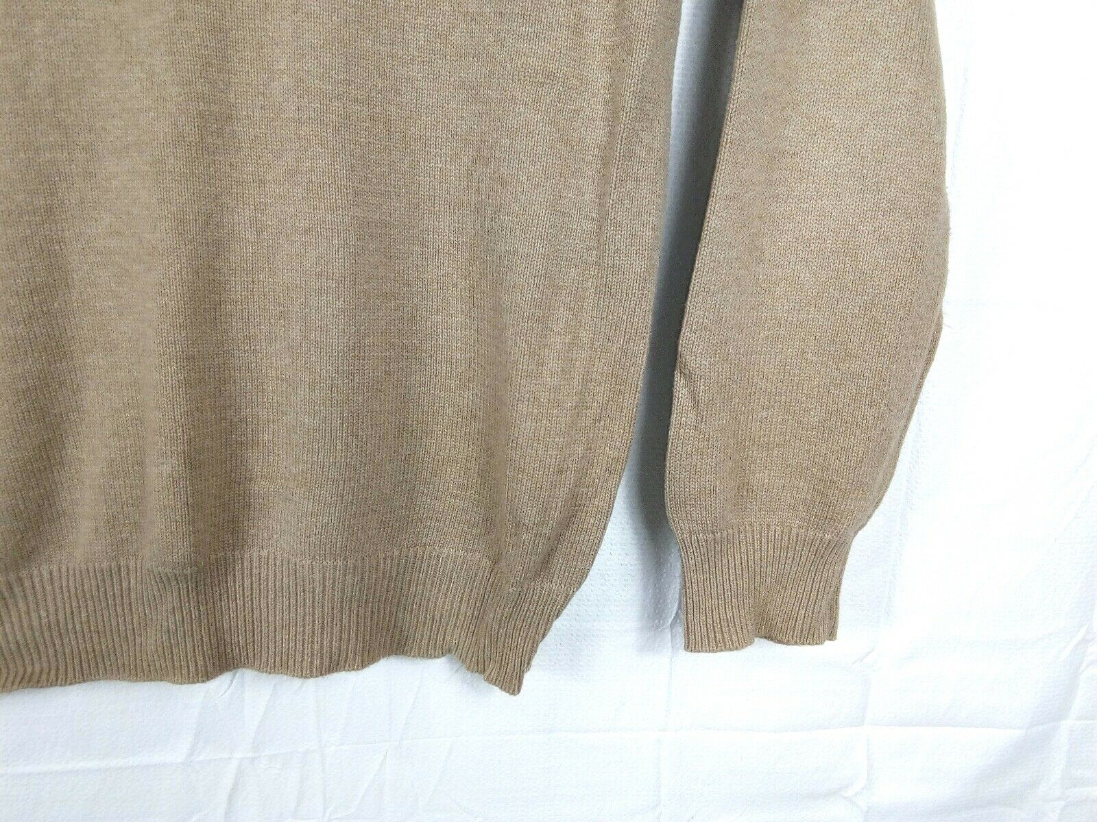 J. CREW Men's XLT Tall 1/4 Zip Tan Cotton/Cashmere Sweater Pullover Cardigan