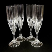 4 (Four) MIKASA PARK LANE Cut Lead Crystal Fluted Champagne Glasses DISC... - $69.99