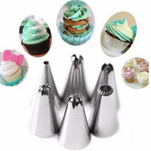 FHEAL Silicone Icing Piping Cream Pastry Bag with 6Pcs Stainless Steel N... - $11.58
