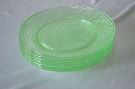6 U.S. Glass Co Scroll Green Bread & Butter Plates - $29.70