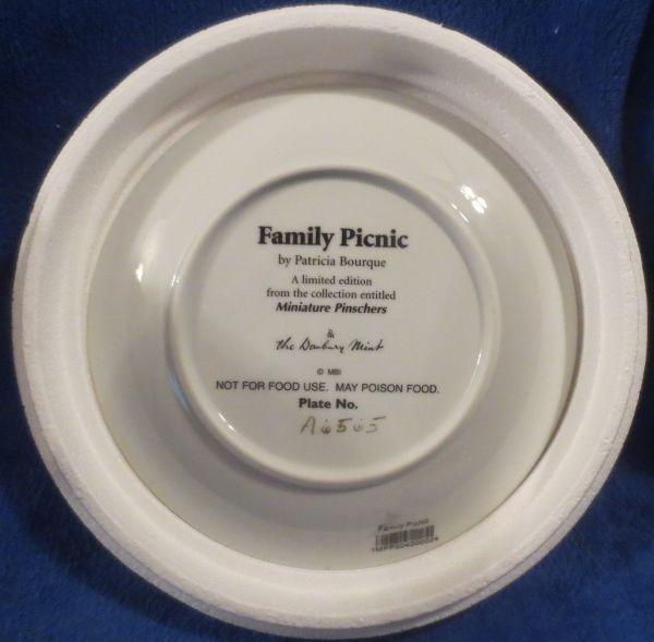 Danbury Mint Miniature Pinschers Family Picnic by Patricia Bourque image 2
