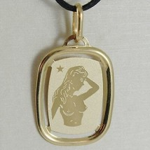 SOLID 18K YELLOW GOLD VIRGO ZODIAC SIGN MEDAL PENDANT, ZODIACAL, MADE IN... - $126.00