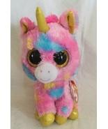 "Ty Beanie Boos FANTASIA Multi Color Unicorn 6"" Plush Gold Horn/Hooves MWMTs - $9.99"