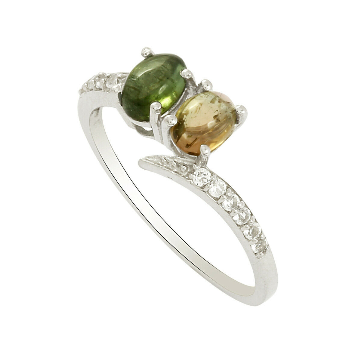 Multi Tourmaline With White Topaz 925 Silver Bypass Open Wrap Stacking Band Ring