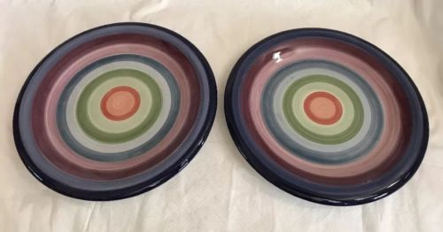 "Primary image for 2 ROTUNDA TABLETOPS UNLIMITED 10 1/2"" PLATES – WINES, BLUES & GREENS CIRCLES"