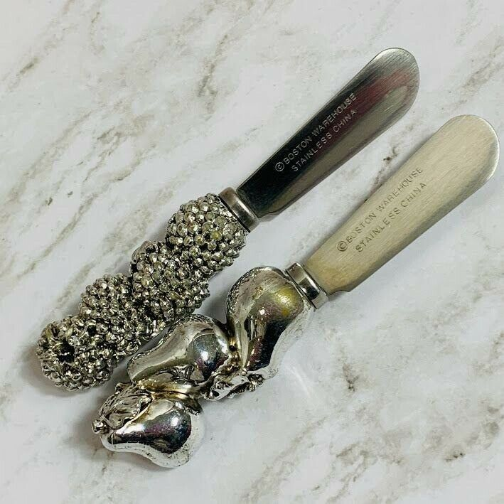 Primary image for Silver Pinecone Pear Cheese Spreader Set of 2 Knives