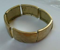 Signed Lia Sophia Gold-tone Matte Hammered Panel Stretch Bracelet - $12.38