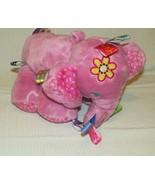 Taggies Pink elephant plush jingle rattle baby girl soft toy  - $9.89