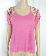 Diktons Barcelona Designer Hot Pink Geometric Abstract Raglan Tshirt Kni... - $9.50