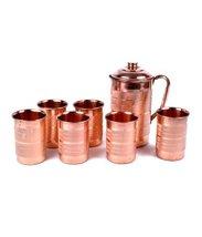 Rastogi Handicrafts Pure Copper Silver Touch Jug & 6 Glass Set - $74.25
