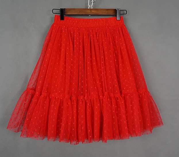 Knee Length Pleated Tulle Skirt Red POLKA DOT Tulle Skirt Bridesmaid Party Skirt