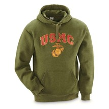 USMC US Marine Corp EGA Hoodie Hooded Sweatshirt shirt marines OD Green ... - $24.75