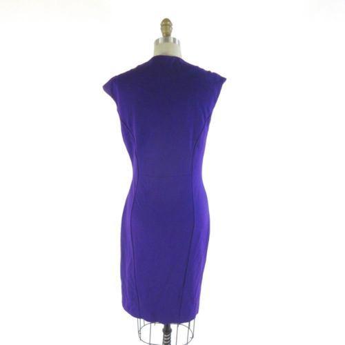 3 / L - TED BAKER London Purple Pleated Wrap V Neck Stretch Fit Dress 0106KA