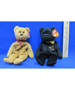 TY Beanie Babies Plush Original Stuffed Animal 1999 The End & 1996 Curly... - $12.22