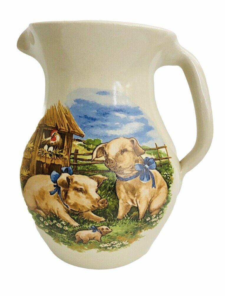 "Marshall Pottery Stoneware 8""  Vase / Pitcher Shakers & Thangs Farm Scene MINT - $29.69"