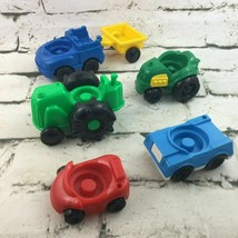 Fisher Price Little People Chunky Cars Lot Tractor Car Trailer Blue Gree... - $14.84