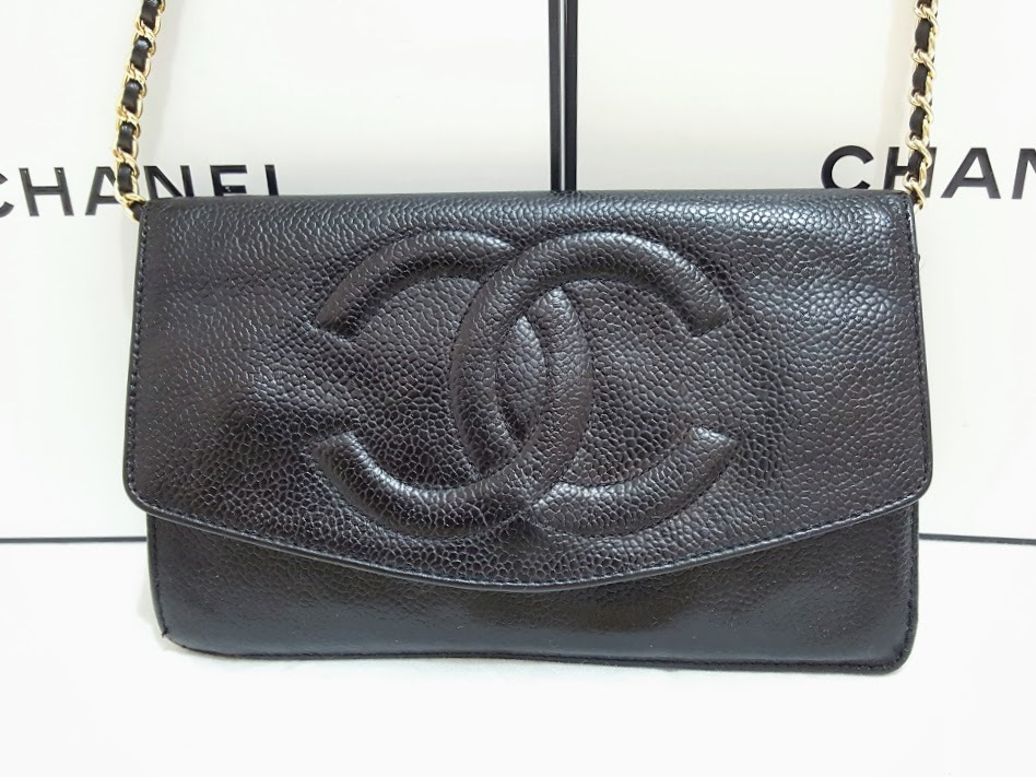 Auth Chanel Timeless Black Caviar Leather Gold Chain Wallet WOC Crossbody Bag