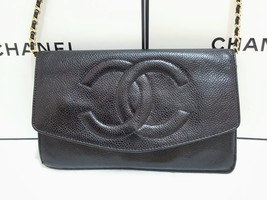 Auth Chanel Timeless Black Caviar Leather Gold Chain Wallet WOC Crossbod... - $585.00