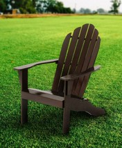 Wood Adirondack Chair Outdoor Lawn Patio Furniture Solid Wood Fan Back B... - $95.83