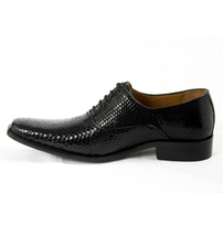 Mens Hand Made Dragon Skin Luxury Formal Black Leather Shoes image 3