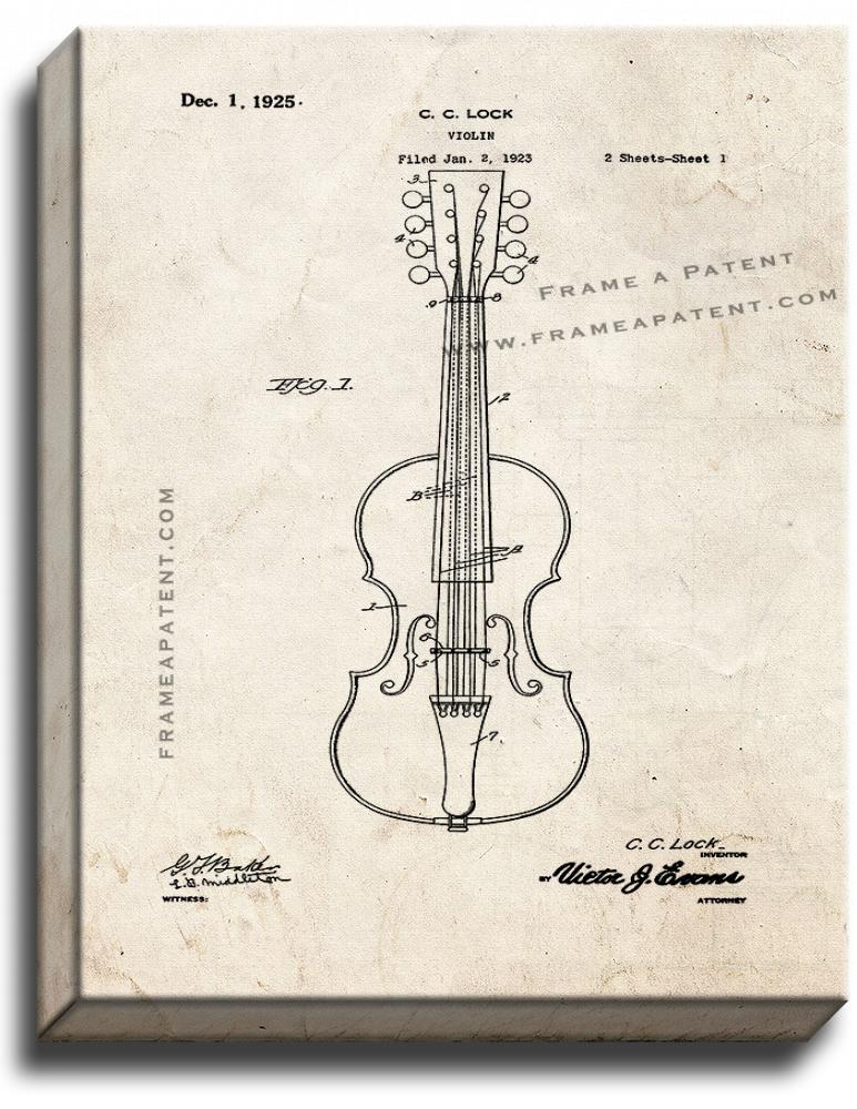 Primary image for Violin Patent Print Old Look on Canvas