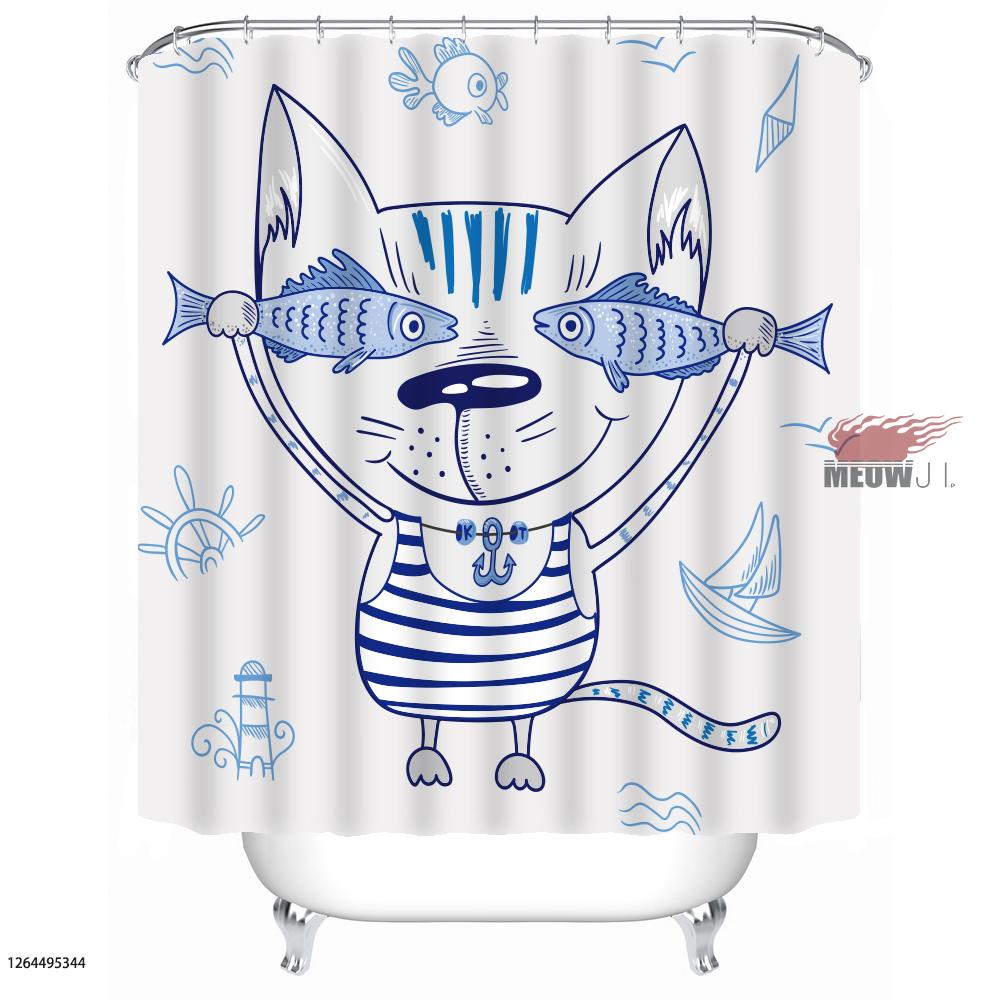 [MIAOJI] Watercolor Animals Sweet Lucky Cute Family Cats Print Shower Curtain Mu - $46.92