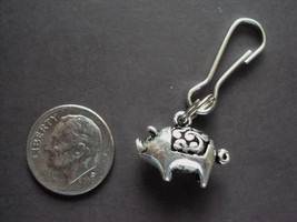 New Antique Silver Alloy 3D Pig Charm Zipper Pull Clip On Charm Traditio... - $2.72