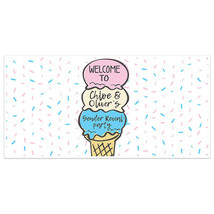 Ice Cream Gender Reveal Baby Shower Banner Party Backdrop - $22.28+