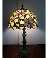 Tiffany Style Leaded slag Glass Lamp Shade Flowers with Lamp Quoizel Col... - $174.23