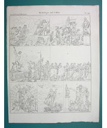 MYTHOLOGY Sacrifice to Hades Poseidon Mars Asklepios - 1825 Antique Print - $9.79