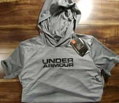 NWT UA Under Armour Boys' Sportstyle Short Sleeve Hoodie Gray Black XL  - $25.73