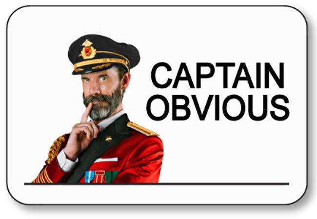 CAPTAIN OBVIOUS NAME BADGE HALLOWEEN COSTUME COSPLAY PIN FASTENER