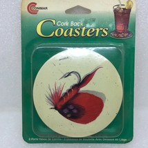 Vintage NOS Unopened Fly Fishing Coasters Conimar Set of 6 Cork Back - $13.57