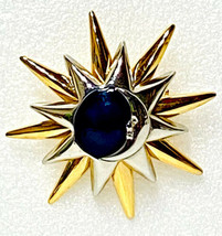 Vintage Liz Claiborne Crescent Moon & Stars Brooch Two Tone Brooch - $12.95