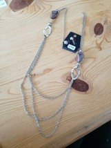 1146 Silver W/ Brown Beads Necklace Set (New) - $8.58