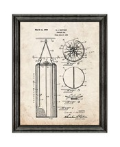 Punching Bag Patent Print Old Look with Black Wood Frame - $24.95+
