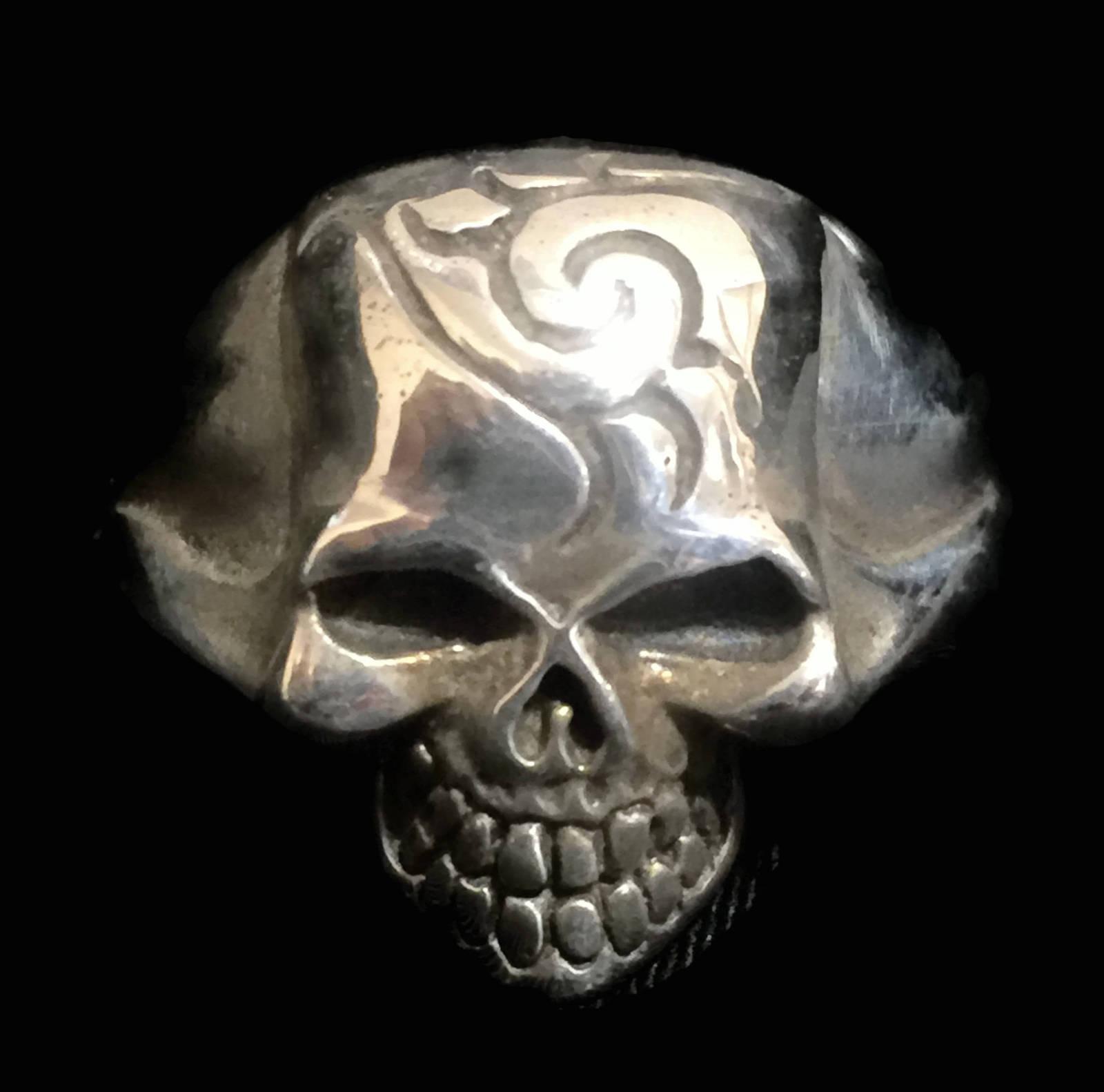 Biker Skull Sterling Silver Vintage Death Men Ring Size 14.25