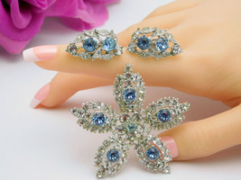 Vintage BOGOFF Star Brooch Screw Back Earrings Set Clear & Blue Silver Tone - $64.95