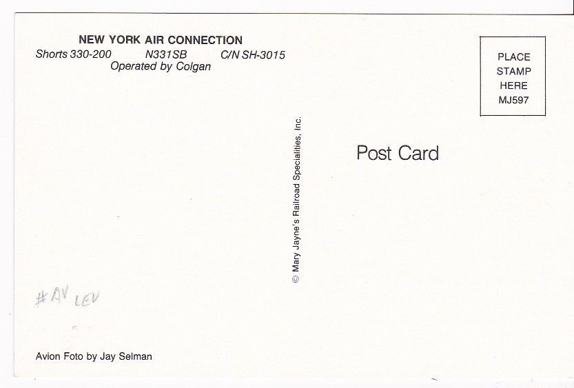 NEW YORK AIR CONNECTION N331SB VINTAGE UNUSED POSTCARD