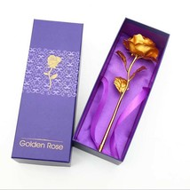 Foil Plated Gold Rose Artificial Flower Decoration Valentines Day Gift R... - $9.99