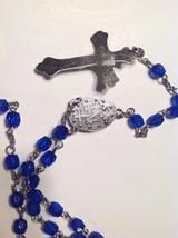 Blue Rosary Catholic Prayer Beads Crucifix - $10.84