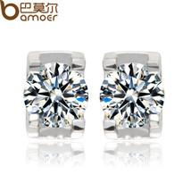 BAMOER Top Quality Hearts and Arrows Zircon Crystal Silver Color Stud Ea... - $11.16