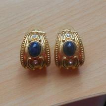 Vintage Avon Designer Gold-tone Blue Cab & Rhinestone Pierced Earrings  - $32.18