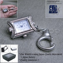 SILVER Vintage Antique Lady Square Pendant Watch Key Chain Necklace Gift... - $10.99