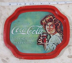 Drink Coca Cola Delicious And Refreshing Serving Tray Small Tin Tray  - $18.52