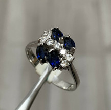 18ct White Gold Sapphire And Diamond Cluster Ring Size O BHS - $958.01