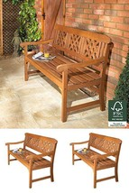 Solid Wood Garden Patio Bench Classic Style 3 Seater Weather Resistant N... - $186.91