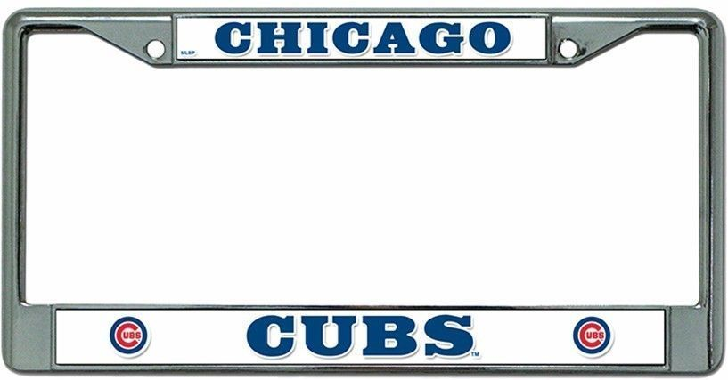 CHICAGO CUBS CAR CHROME METAL LICENSE PLATE TAG FRAME RETRO MLB BASEBALL #1