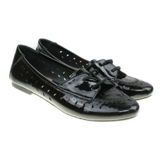 BORN Womens Black Patent Leather Perforated Lace-ups Flats Size 9 - $28.70